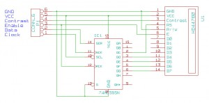 LCD connected to shift register